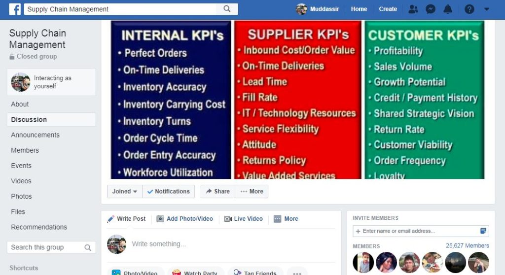 Supply Chain Management Group Facebook