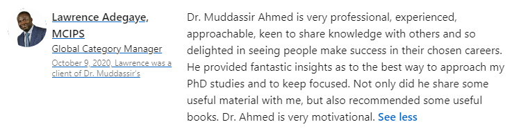 Dr. Muddassir Testimonials